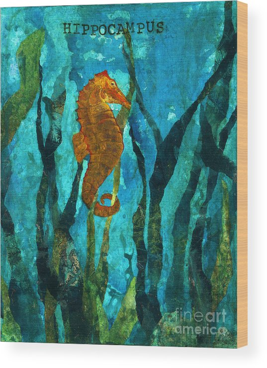 Sea Horse Wood Print featuring the painting Hippocampus by Renee Phillips