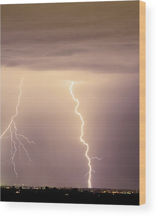 james Insogna Wood Print featuring the photograph Lightning Bolt With A Fork by James BO Insogna