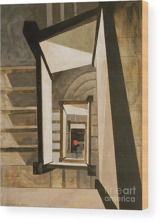 Museum Wood Print featuring the painting Museum Stairs by Micheal Jones