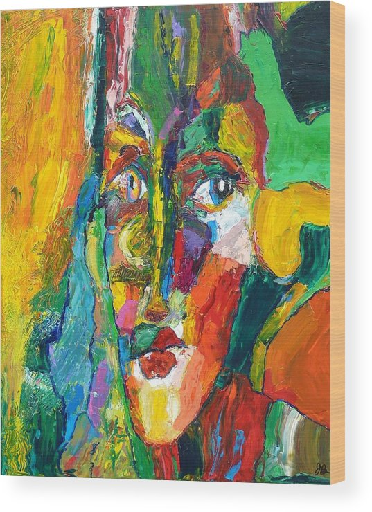 Abstract Wood Print featuring the painting Mystery Two by John Barney