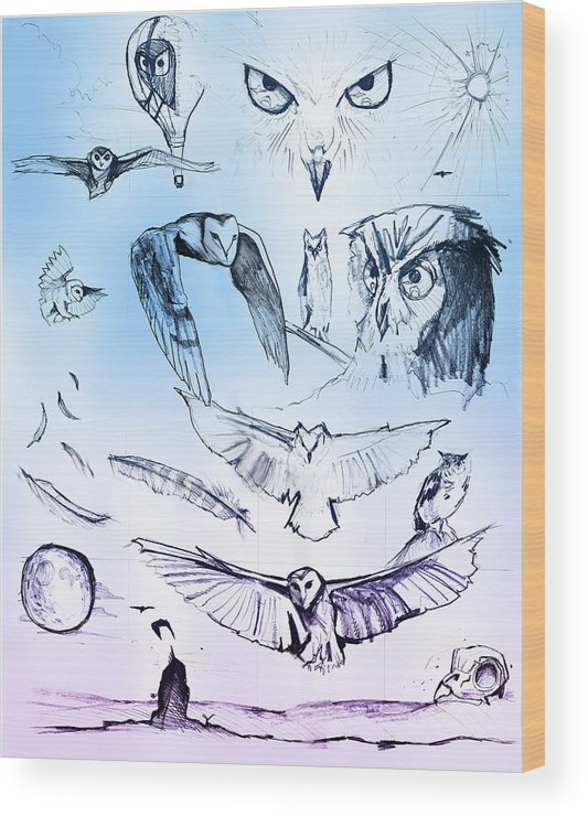 Owl Wood Print featuring the painting Owl In Flight by John Jr Gholson