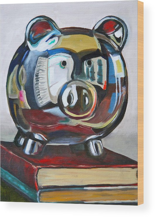 Piggy Bank Wood Print featuring the painting Piggy On Books by Amy Higgins