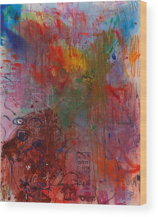 Colorful. Abstract Wood Print featuring the painting Planning by Gisele Aliyah