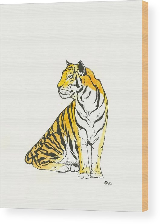 Shere Kahn Wood Print featuring the painting Shere Khan by Kiana Gonzalez