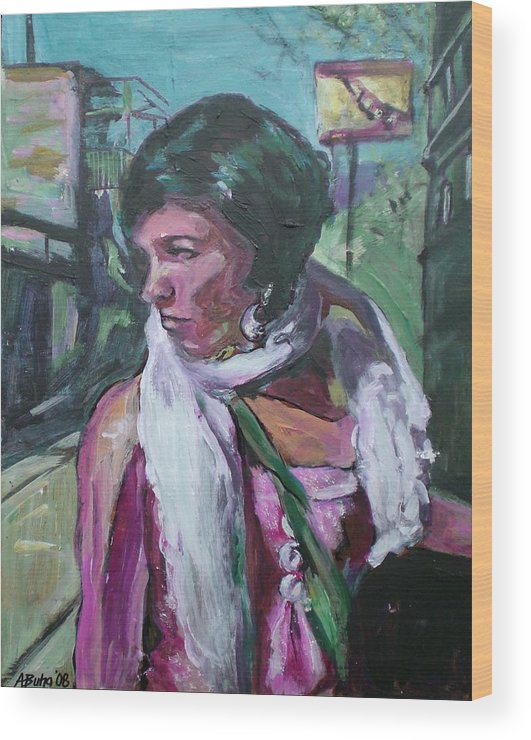 Wood Print featuring the painting Girl With White Shawl by Aleksandra Buha
