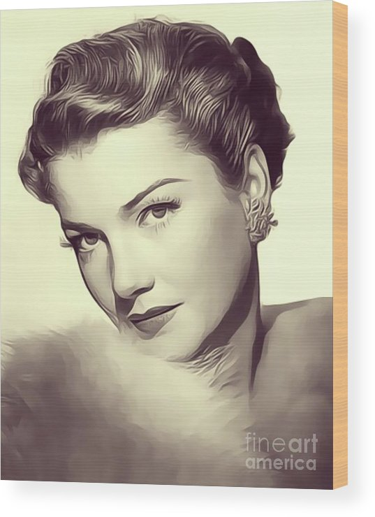 Anne Wood Print featuring the digital art Anne Baxter, Vintage Actress by John Springfield