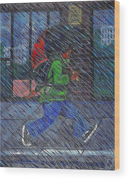 Malik Seneferu Wood Print featuring the painting Blue Rain by Malik Seneferu