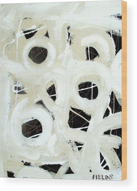 Bold Wood Print featuring the painting Contrast Abstract by Karen Fields