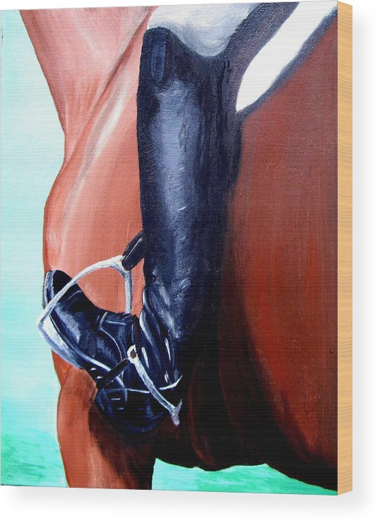 Horse Wood Print featuring the painting Heels Down by Glenda Smith
