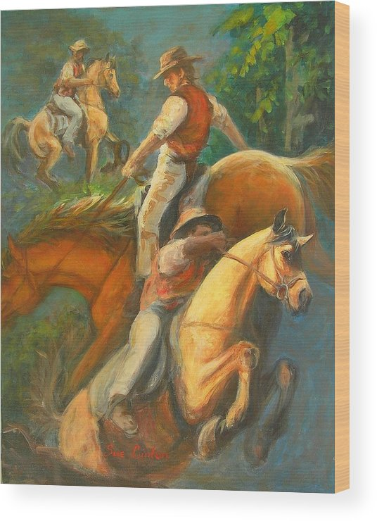Horses Wood Print featuring the painting High Country Riding by Sue Linton
