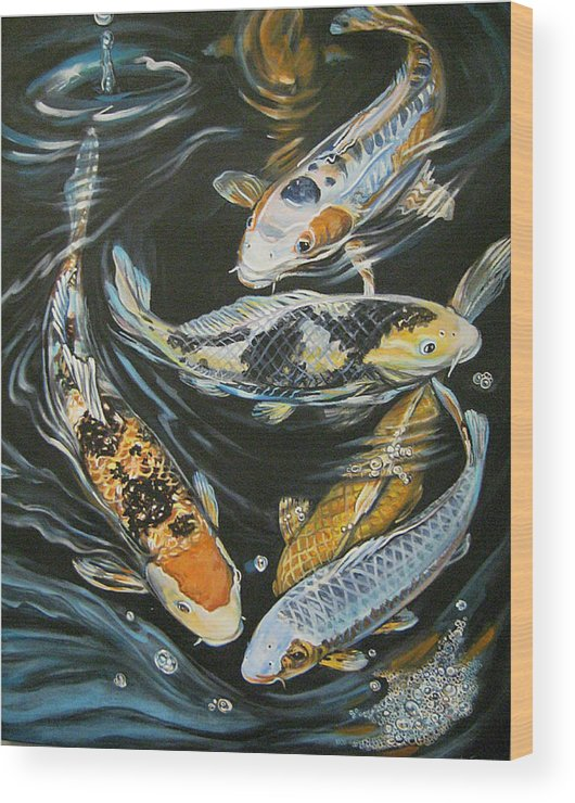 Fish Wood Print featuring the painting Koi Pond by Diann Baggett
