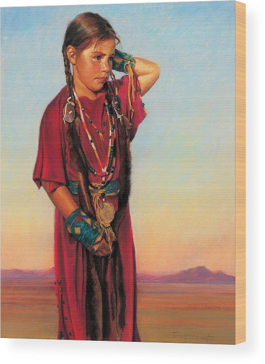 American Indian Wood Print featuring the painting Little American Beauty I by Jean Hildebrant