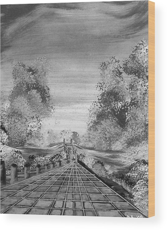 Wood Print featuring the print Miles From Nowhere by Beverly Baxter