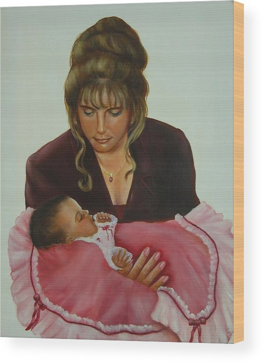 Portrait Wood Print featuring the painting Mother And Child by Joni McPherson