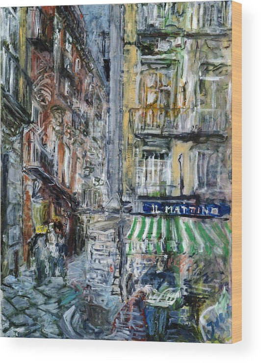 Cityscape Naples Italy Kiosk Alley Way Newspapers Wood Print featuring the painting Naples Kiosk by Joan De Bot