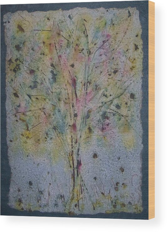 Wood Print featuring the mixed media Paper Tree by Sally Van Driest
