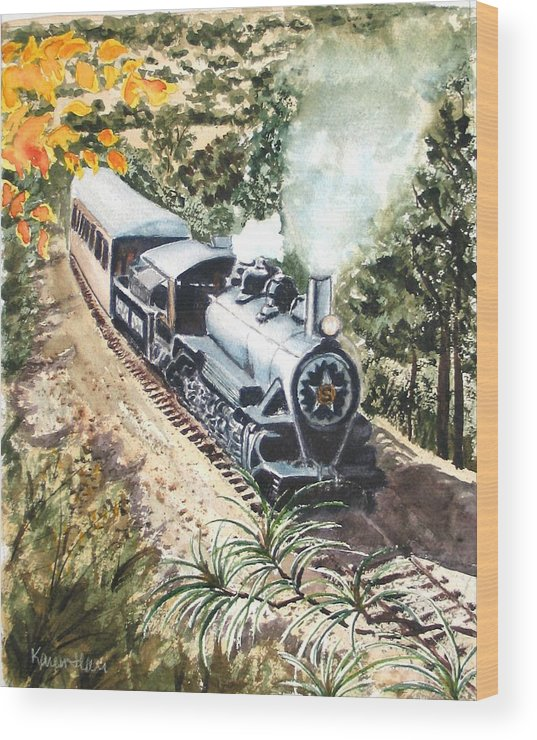 Trains Wood Print featuring the painting Round The Bend by Karen Ilari