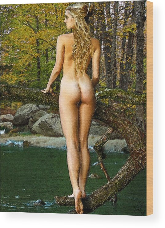 Nude Wood Print featuring the digital art Standing On A Branch by Jessica B