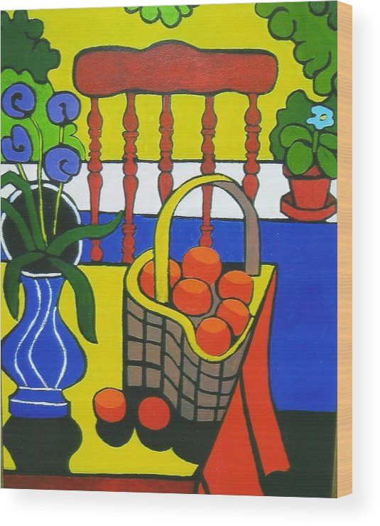 Still Life Wood Print featuring the painting Still Life With Red Chair And Oranges by Nicholas Martori