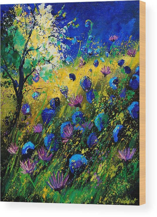 Poppies Wood Print featuring the painting Summer 450208 by Pol Ledent