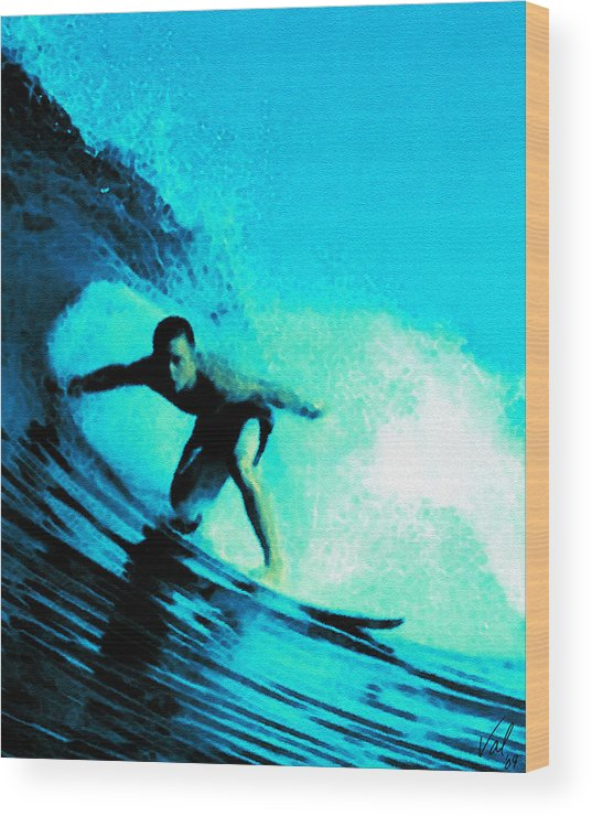 Ocean Wood Print featuring the digital art The Surfer by Jessica B