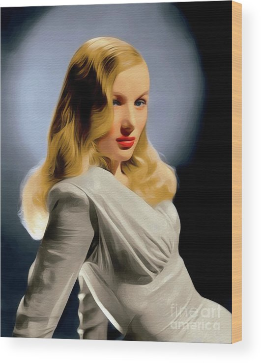 Veronica Wood Print featuring the painting Veronica Lake, Hollywood Legend 1 by John Springfield
