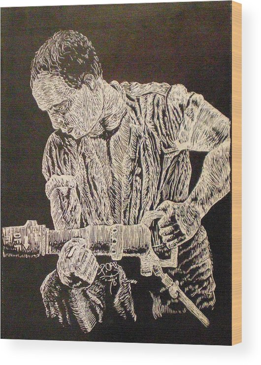 Scratch-board Wood Print featuring the drawing Working Man by Tammera Malicki-Wong
