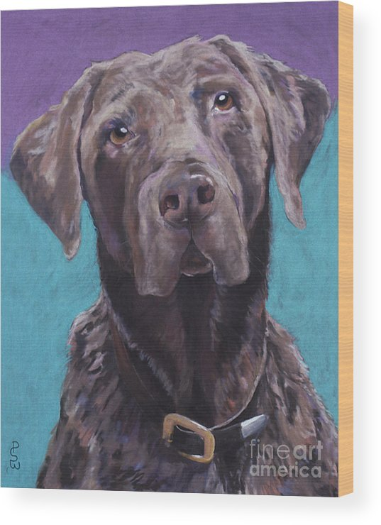 Pet Portrait Commissions Wood Print featuring the pastel 100 Lbs. Of Chocolate Love by Pat Saunders-White