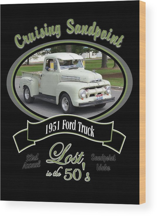 1951 Ford Truck Shields Green Pickup Wood Print featuring the photograph 1951 Ford Truck Shields by Mobile Event Photo Car Show Photography