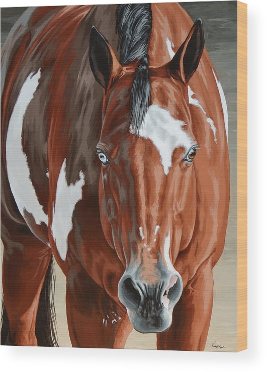 Horse Wood Print featuring the painting Apollo by Lesley Alexander