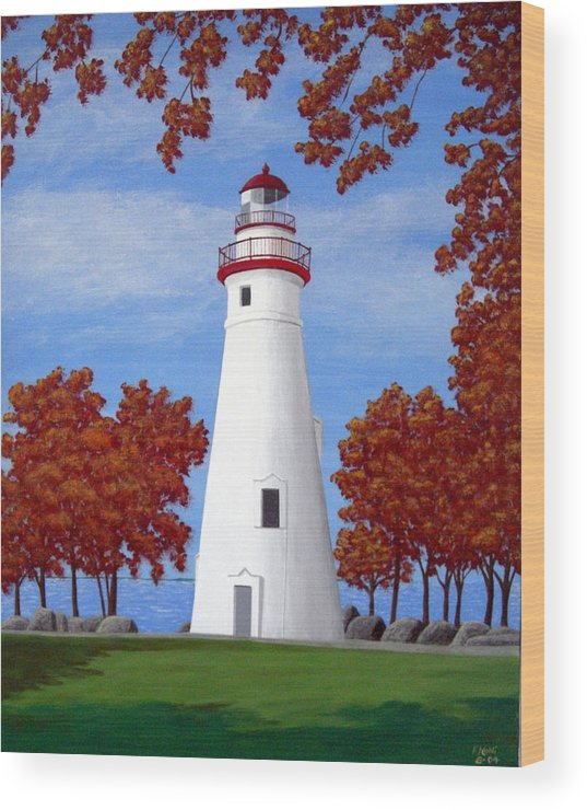 Lighthouse Paintings Wood Print featuring the painting Autumn At Marblehead by Frederic Kohli