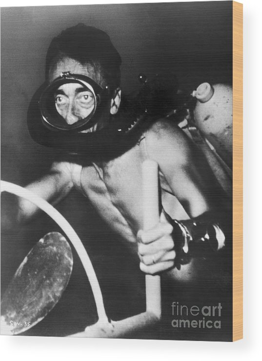 1954 Wood Print featuring the photograph Jacques Cousteau (1910-1997) by Granger