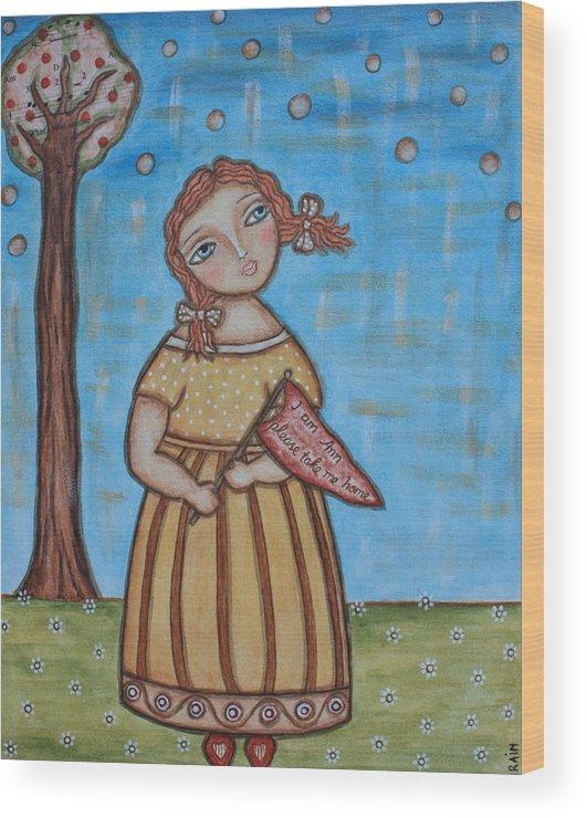 Folk Art Painting Wood Print featuring the painting Raggedy Ann by Rain Ririn