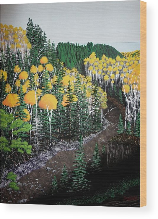 Landscape Wood Print featuring the painting River Through Golden Forest by Dan Shefchik