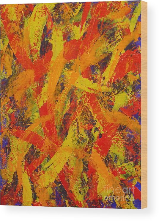 Abstract Wood Print featuring the painting Untitled by Dean Triolo