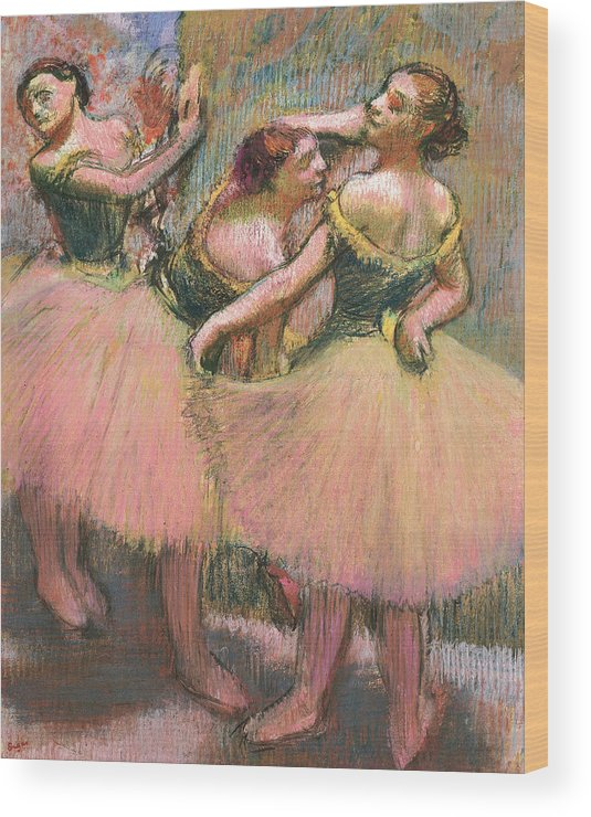 Degas Wood Print featuring the drawing Three Dancers by Edgar Degas