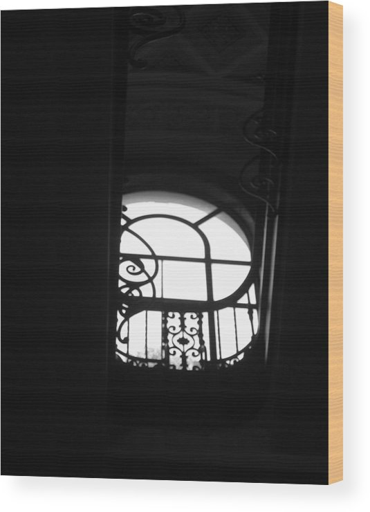 Window Silhouette From A Stairwell Wood Print featuring the photograph A Glimpse Of Sky by Lindsey Orlando