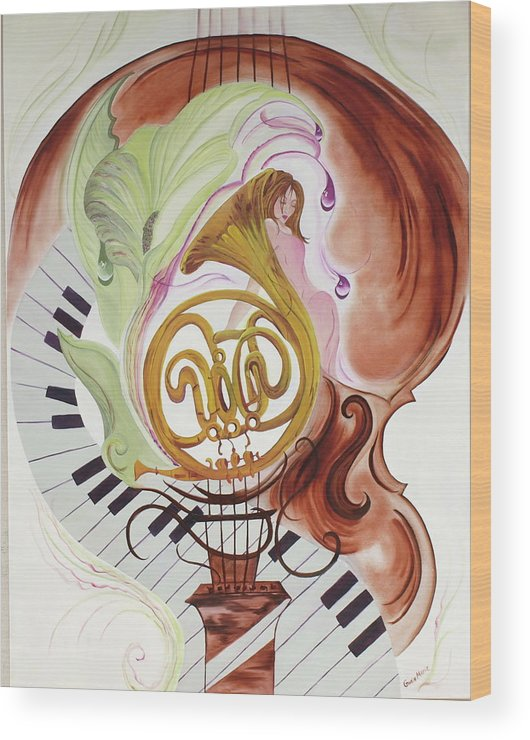 Music Wood Print featuring the painting A Muse For The Mistro by Gwen Rose