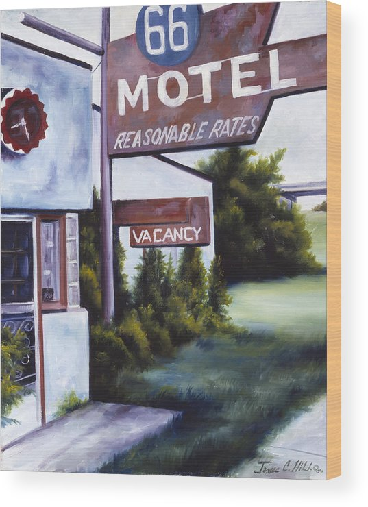 Motel; Route 66; Desert; Abandoned; Delapidated; Lost; Highway; Route 66; Road; Vacancy; Run-down; Building; Old Signage; Nastalgia; Vintage; James Christopher Hill; Jameshillgallery.com; Foliage; Sky; Realism; Oils Wood Print featuring the painting A Road Less Traveled by James Christopher Hill