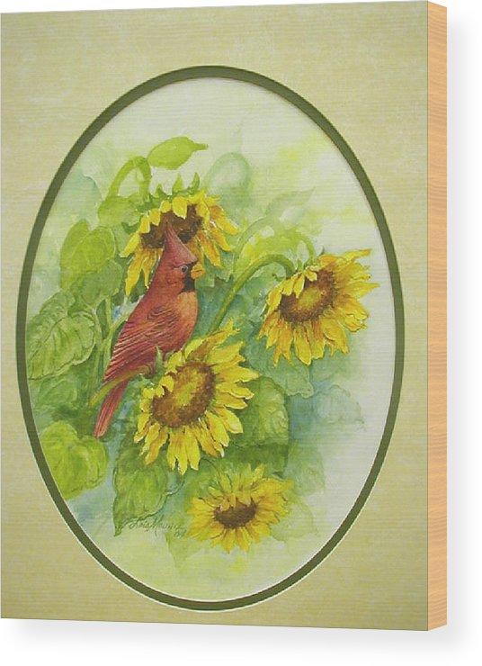 Birds;cardinal;sunflowers;garden; Wood Print featuring the painting A Sunny Garden Spot by Lois Mountz