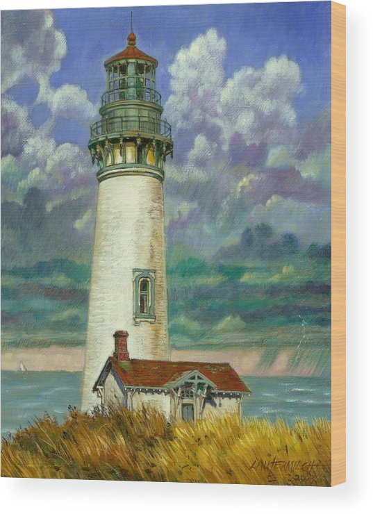 Lighthouse Wood Print featuring the painting Abandoned Lighthouse by John Lautermilch
