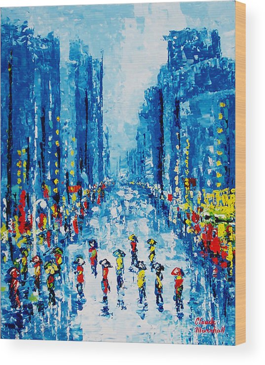 Abstract Wood Print featuring the painting Across Town by Claude Marshall