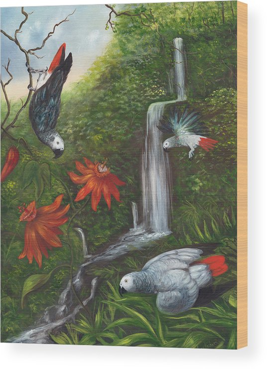 Landscape Wood Print featuring the painting African Grays by Anne Kushnick