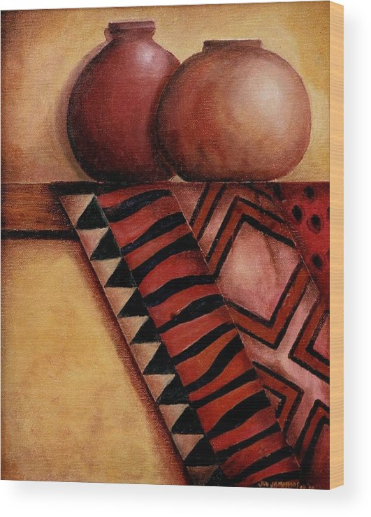 African Wood Print featuring the painting African Touch by Jun Jamosmos