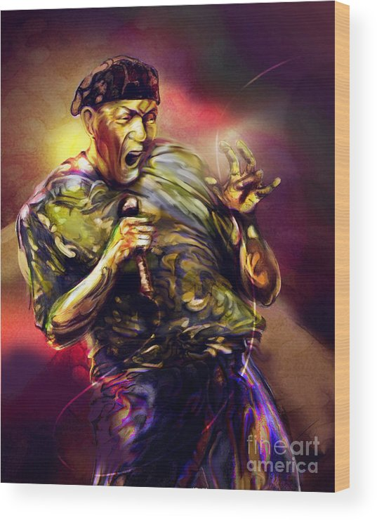 Jazz Art Wood Print featuring the painting Al Jarreau by Mike Massengale