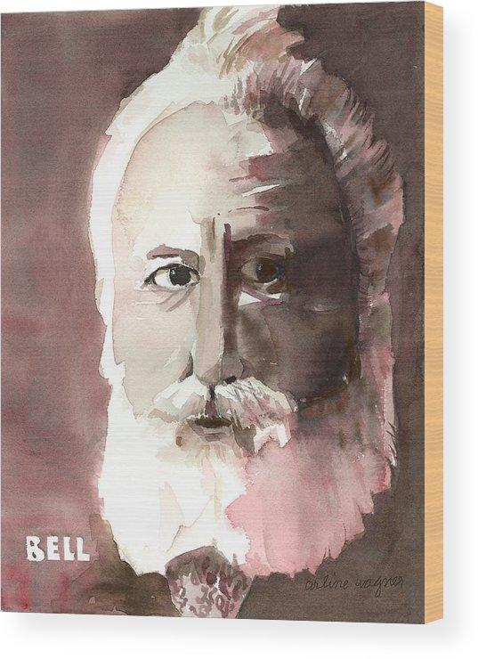 Alexander Graham Bell Wood Print featuring the painting Alexander Graham Bell by Arline Wagner
