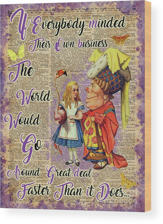 Alice In Wonderland Wood Print featuring the mixed media Alice With The Duchess Vintage Dictionary Art by Anna W