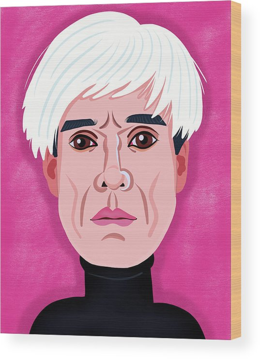 Andy Warhol Wood Print featuring the digital art Andy Warhol by Nicole Wilson