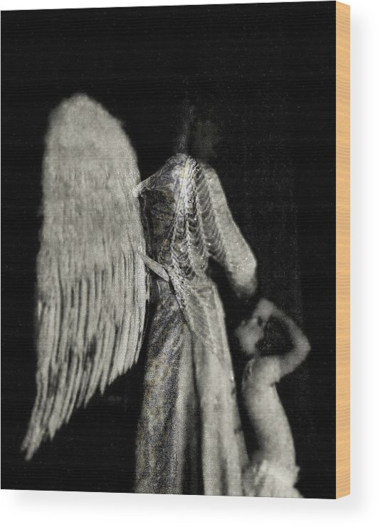 Digital Photography Wood Print featuring the photograph Angel Bw by Tony Wood