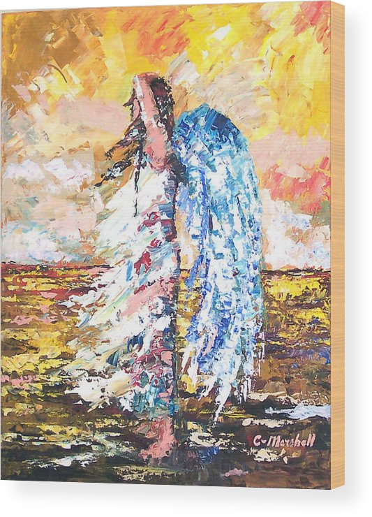 Art Wood Print featuring the painting Angel In The Wind by Claude Marshall
